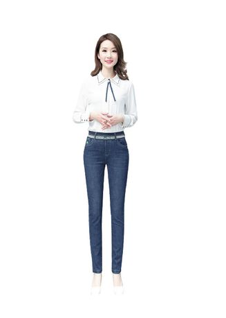 Blue color Jeans . Tall Waist Foot Leisure Female Trousers -