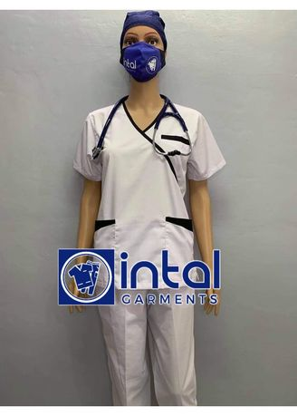 White color  . SCRUB SUIT Medical Doctor Nurse Uniform High Quality Made SS08B Polycotton by Intal Garments Color White Black -