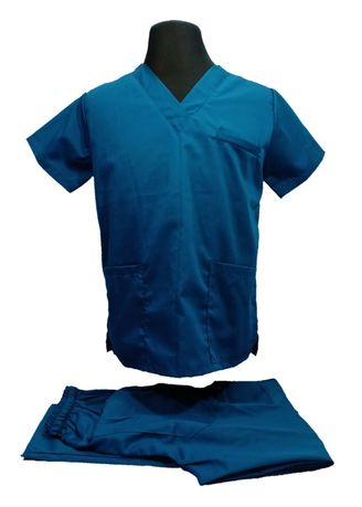 Blue color  . SCRUB SUIT Medical Doctor Nurse Uniform High quality made SS01A Polycotton by Intal Garments Color Teal Blue -