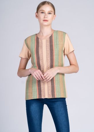 Multi color Tops and Tunics . Binibini Short Sleeves Top in Peach with Mawari Stripes  -