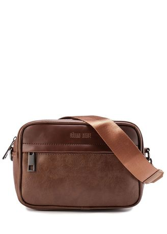 Tan color Messenger Bags . Urban State - Distressed Leather Zipper Crossbody Bag -