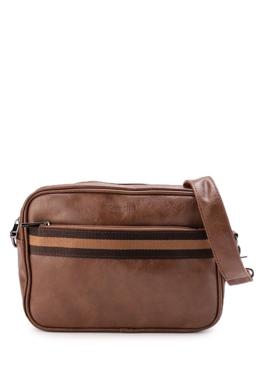 Tan color Tas Tote . Urban State - Distressed Leather Striped Crossbody Bag -