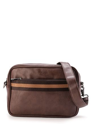 Brown color Messenger Bags . Urban State - Distressed Leather Striped Crossbody Bag -