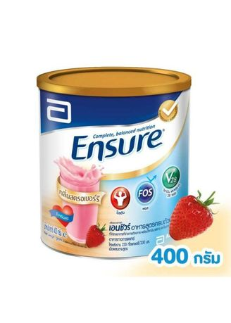 No Color color Health Drinks & Supplements .  Ensure Complete and balanced nutrition สตอเบอรี่ 400g -