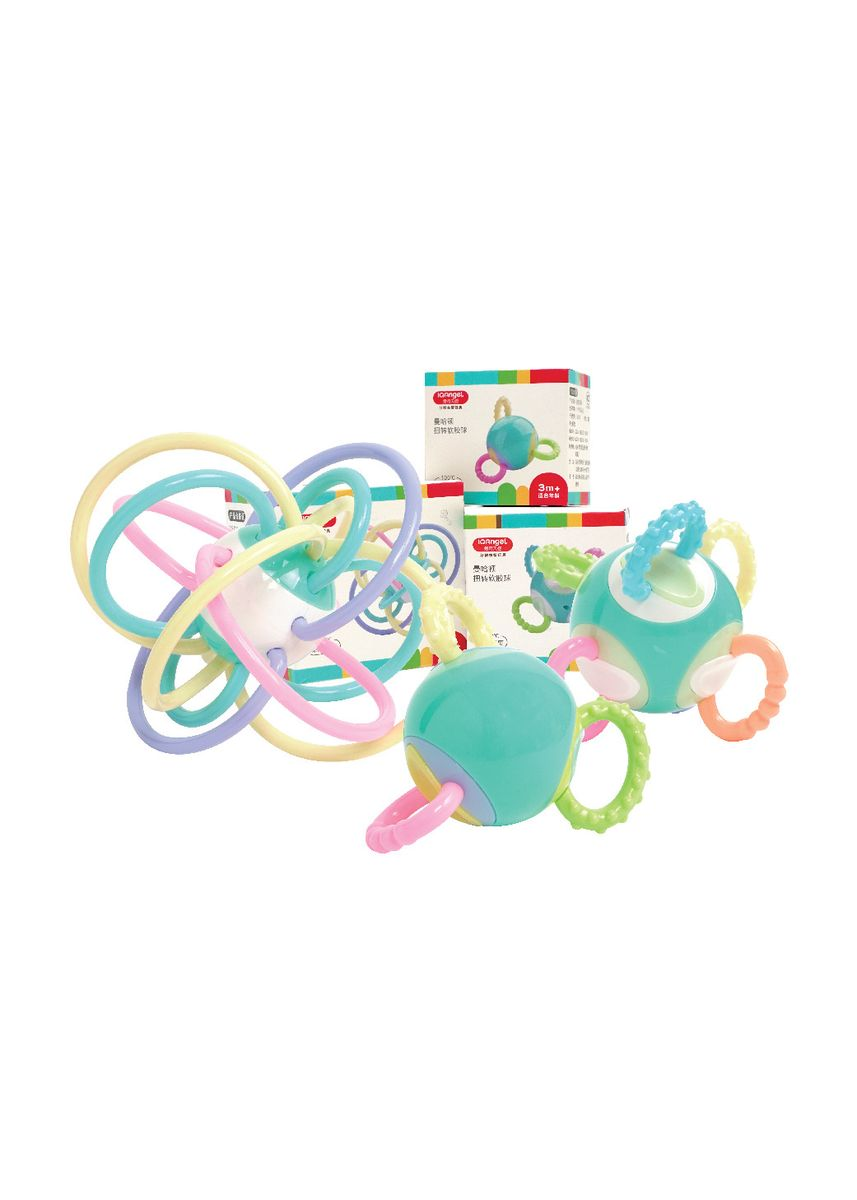 Multi color Teether & Dot . Manhattan 3 Rattle Toy / Mainan Gigitan Bayi / Mainan Kerincingan Bayi -