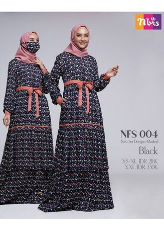 Hitam color Terusan/Dress . NFS 004 Black -