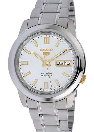 Silver color Analog . Seiko Automatic Men's Stainless Steel Strap Watch Snkk09K1 -