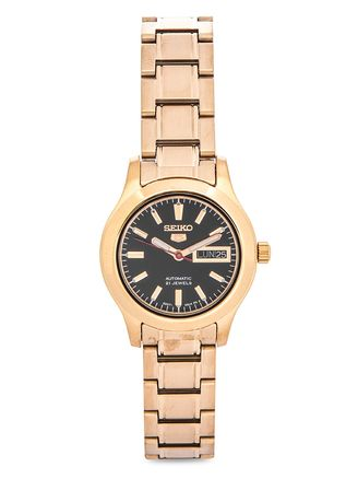 Gold color Analog . Seiko Automatic Women's Stainless Steel Strap Watch Symd96K1 -