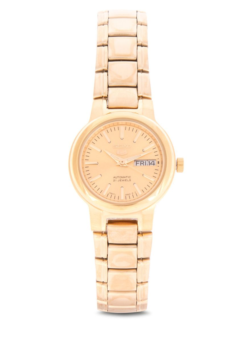 Gold color Analog . Seiko Automatic Women's Stainless Steel Strap Watch Syme46K1 -
