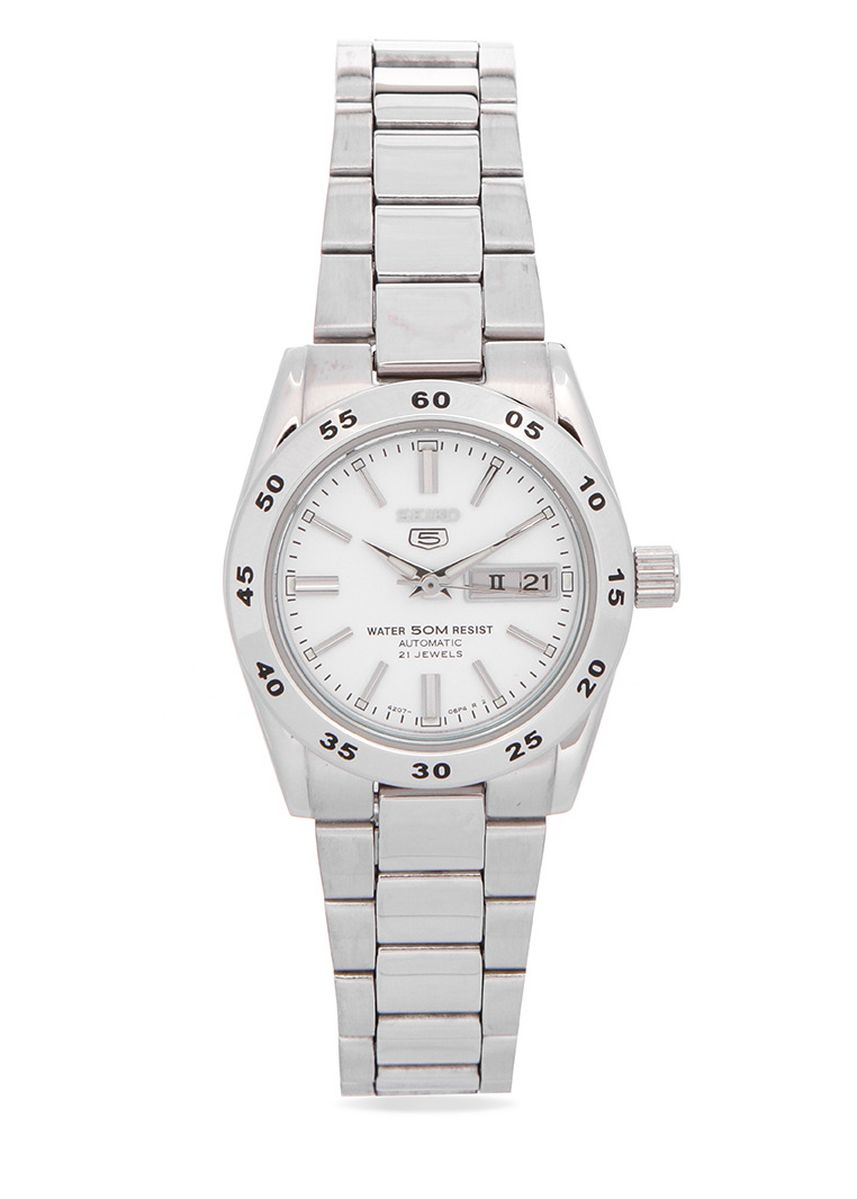 Silver color Analog . Seiko Automatic Women's Stainless Steel Strap Watch Symg35K1 -