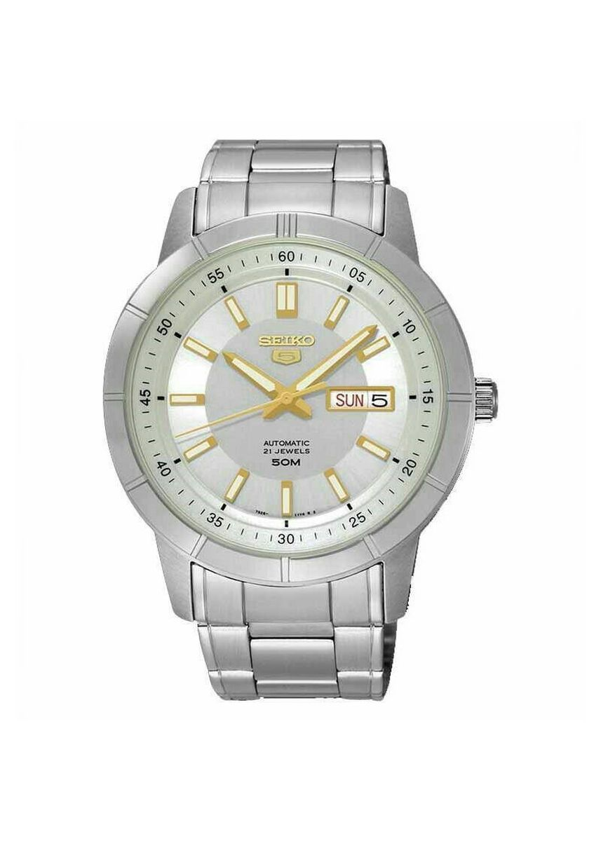 Silver color Analog . Seiko Automatic Men's Stainless Steel Strap Watch Snkn53K1 -