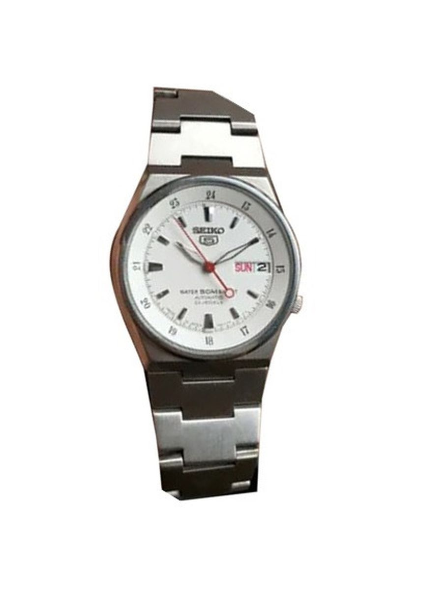 Silver color Analog . Seiko Automatic Men's Stainless Steel Strap Watch Snzb01K1 -