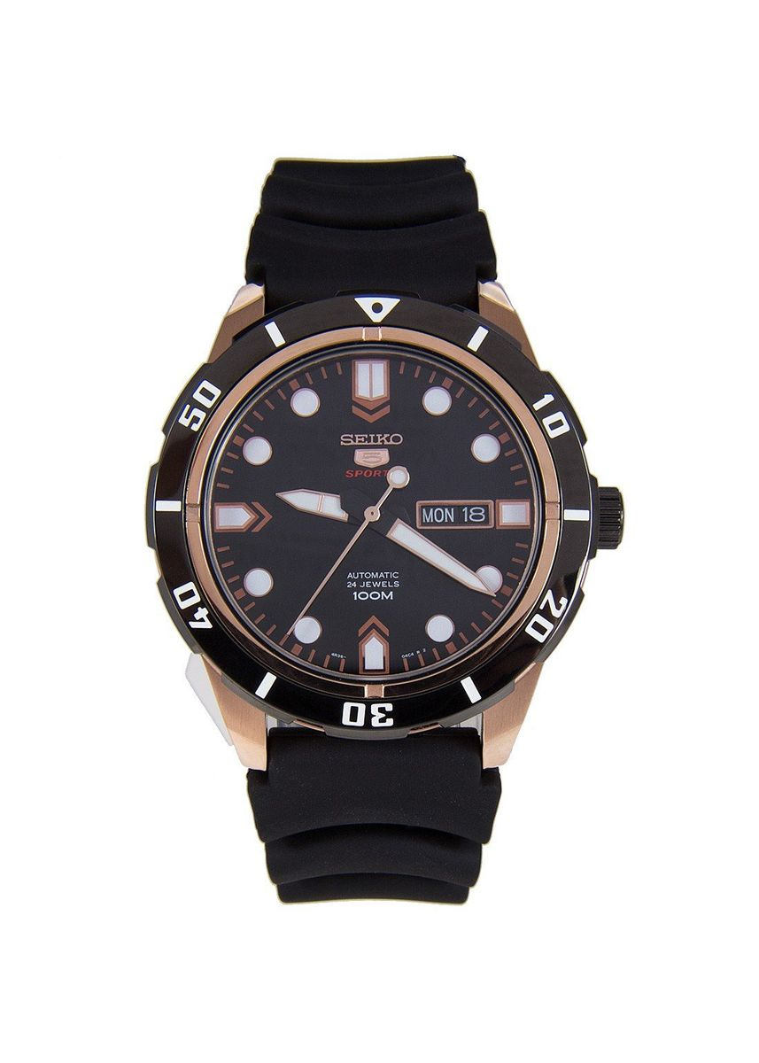 Black color Analog . Seiko Automatic Men's Rubber Strap Watch Srp680K1 -