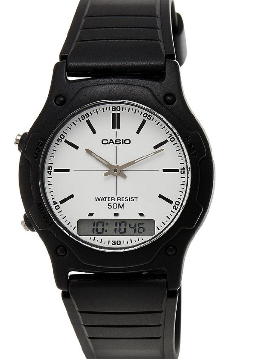 Black color Analog . Casio Dual Display Men's Rubber Strap Watch Aw-49H-7Evdf -