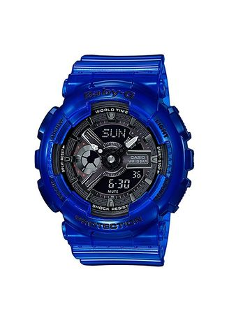 Blue color Analog . Casio Baby-G Dual Display Women's Rubber Strap Watch Ba-110Cr-2A -