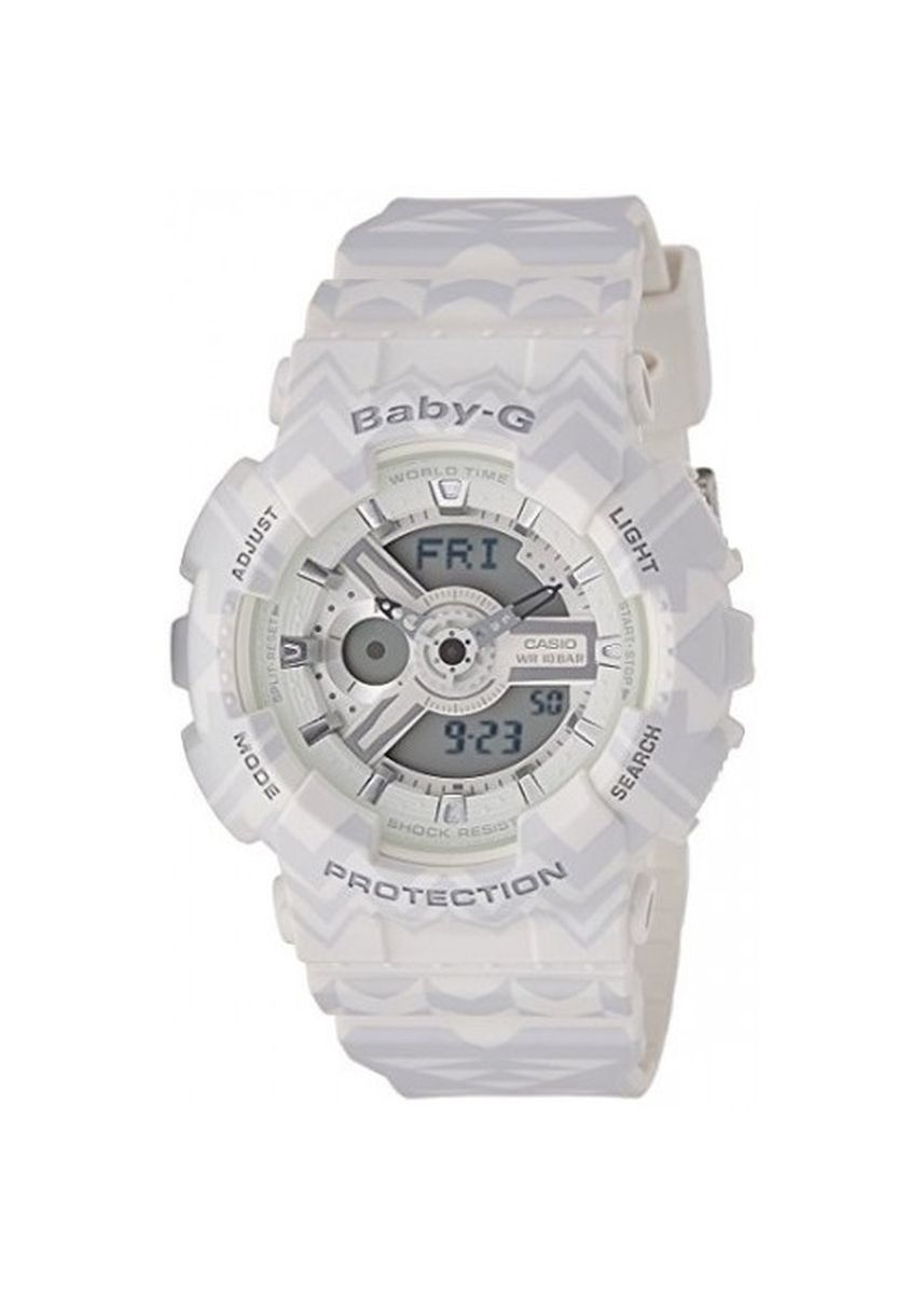 White color Analog . Casio Baby-G Dual Display Women's Rubber Strap Watch Ba-110Tp-7A -