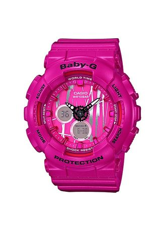 Pink color Analog . Casio Baby-G Dual Display Women's Rubber Strap Watch Ba-120Sp-4A -