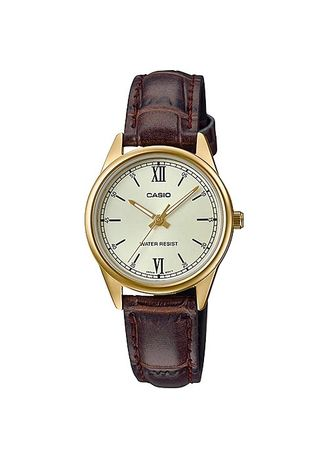 Brown color Analog . Casio Quartz Women's Leather Strap Watch Ltp-V005Gl-9B -