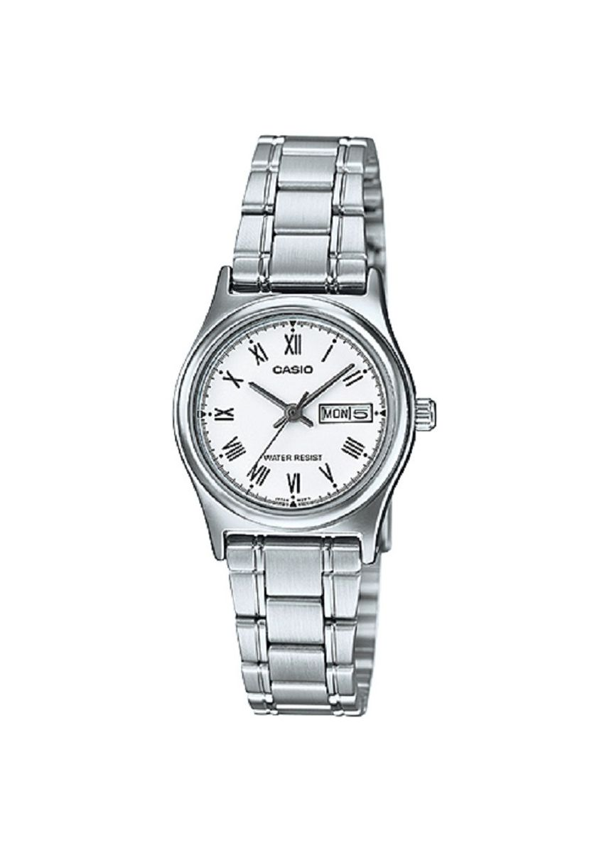 Silver color Analog . Casio Quartz Women's Stainless Steel Strap Watch Ltp-V006D-7B -