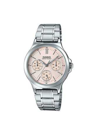 Silver color Analog . Casio Quartz Women's Stainless Steel Strap Watch Ltp-V300D-4A -