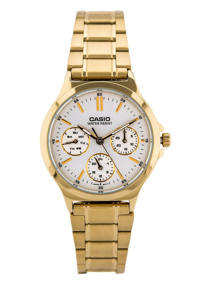 Gold color Analog . Casio Quartz Women's Stainless Steel Strap Watch Ltp-V300G-7A -