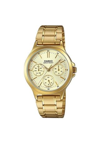 Gold color Analog . Casio Quartz Women's Stainless Steel Strap Watch Ltp-V300G-9A -