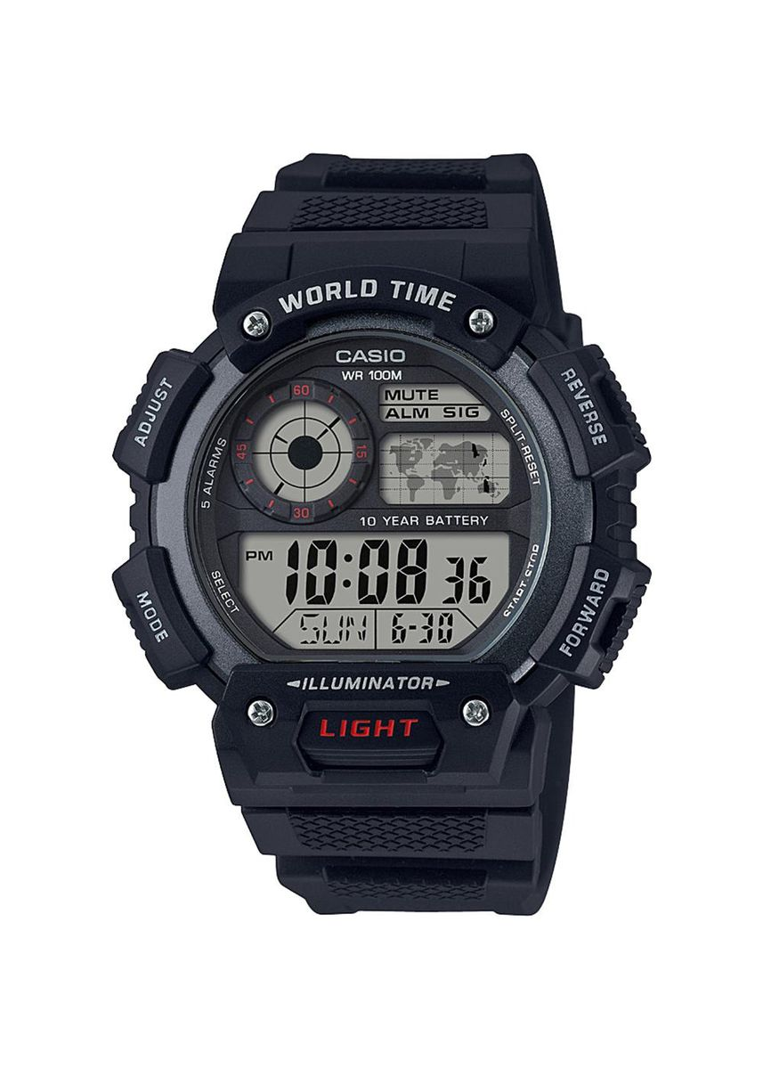 Black color Digital . Casio Digital Men's Rubber Strap Watch Ae-1400Wh-1Avdf -