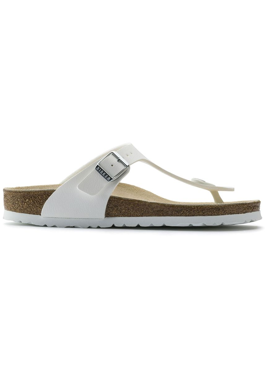 White color Sandals and Slippers . Birkenstock Gizeh Birko-Flor Regular Men's Width Sandals in White -