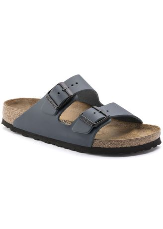 Blue color Sandals and Slippers . Birkenstock Arizona Smooth Leather Men's Regular Width Sandals in Blue -