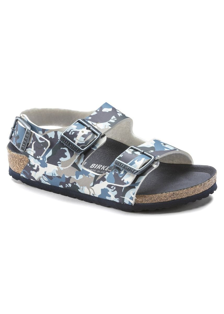 Multi color Footwear . Birkenstock Milano Birko-Flor Kid's Narrow Width Sandals in Dino Camo Blue -