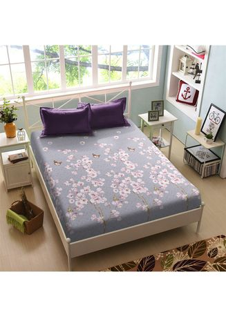 Purple color Bedroom . Sprei Queen 160 Cherisa Kintakun New Luxury Super Soft Microfiber 30 cm (5in1 ) -