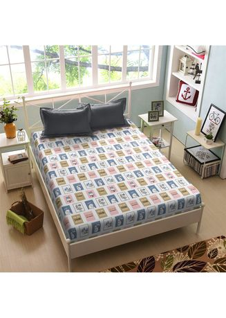 Putih color Kamar Tidur . Sprei King 180 Joy Kintakun New Luxury Super Soft Microfiber 30 cm (5in1 ) -