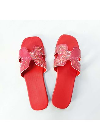 Red color Heels .  Sandal Korea Teplek Model Kokop print 03 Termurah Trendy Local Pride -