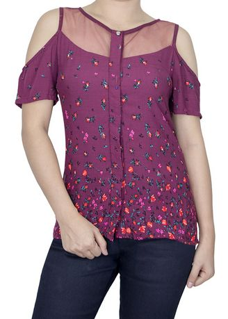 Violet color Tops and Tunics . FLOR Cold Shoulder Top -