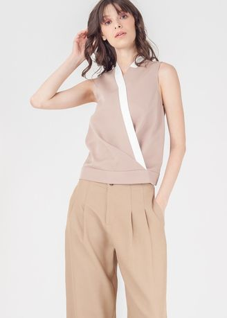 Beige color Tops and Tunics . Naturals Tazue  Sleeveless Top -