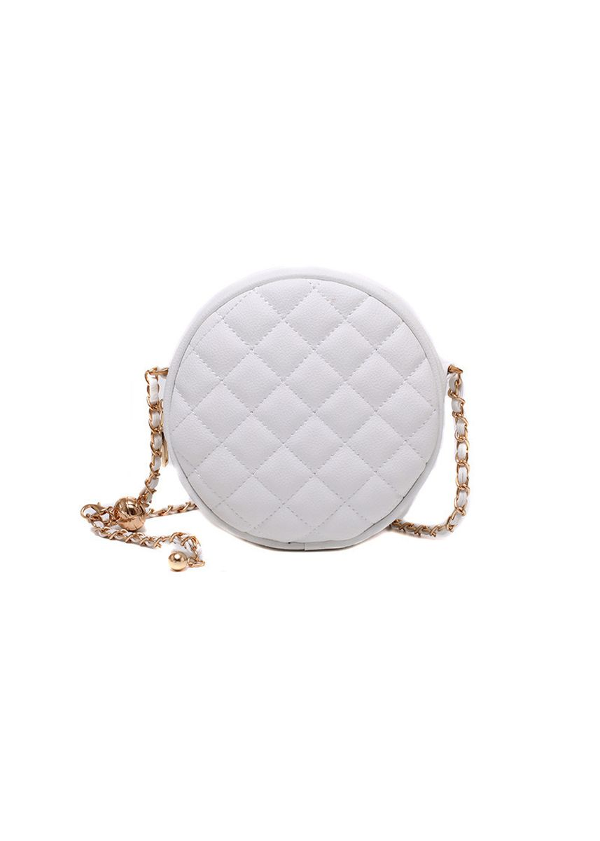 White color Messenger Bags . Small Fragrance Round Chain Shoulder Crossbody Bag -