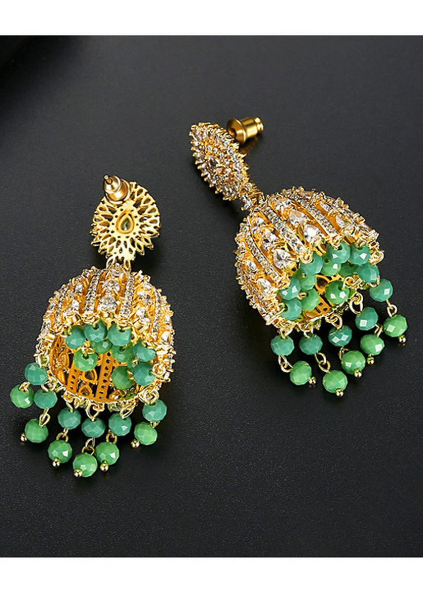 Green color  . Vintage Palace Style Light Luxury Earrings -