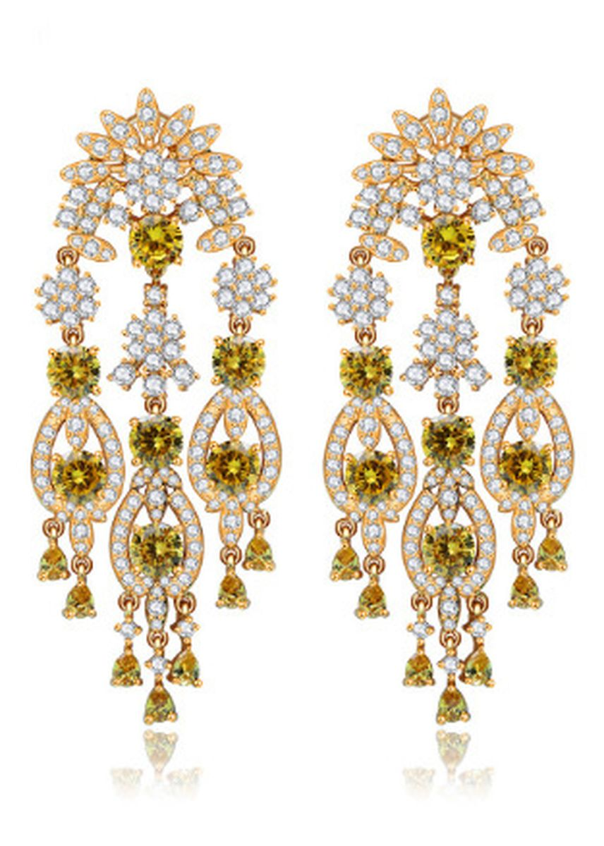 เหลือง color  . Luxury Exaggerated Large Earrings -