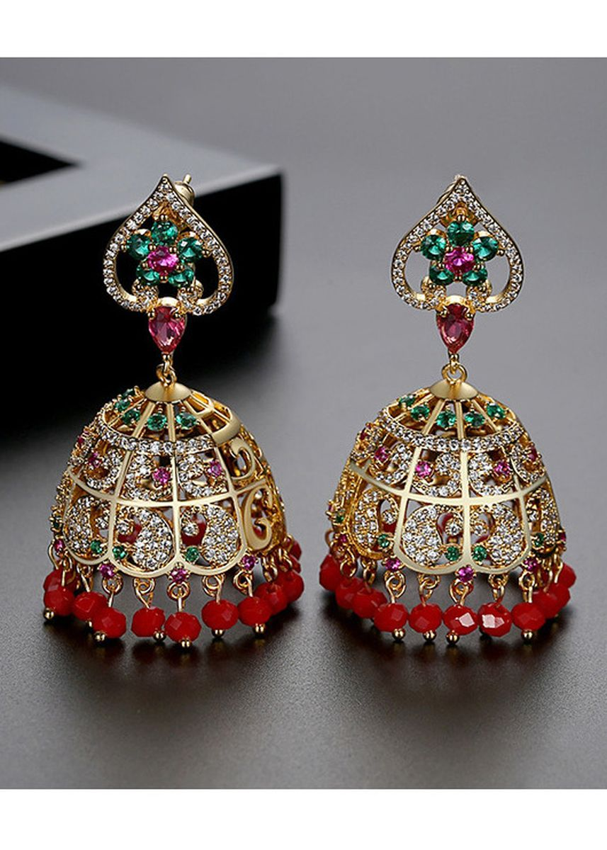 Red color  . Red Color Hollow Ethnic Style Tassel Earrings -