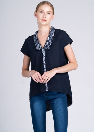Blue color Tops and Tunics . Lakambini Shortsleeve Top with Blue Cam Sur Advance -