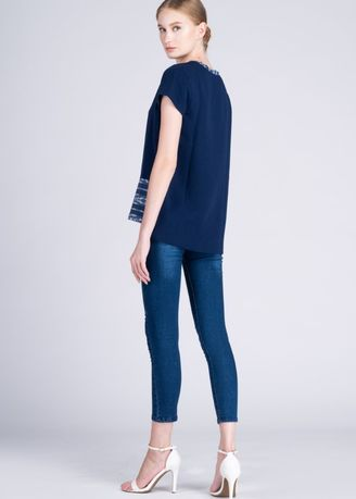 Navy color Tops and Tunics . Lakambini Shortsleeve in Blue Bagobo Cotton -