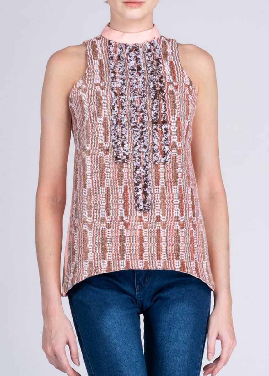 Multi color Tops and Tunics . Lakambini Halter in Peach Camsur Advance Weave -