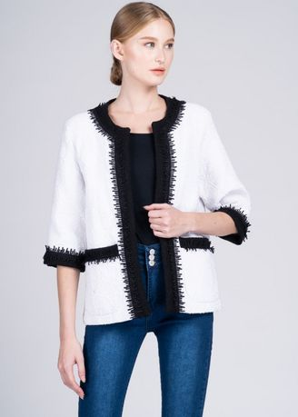 White color Jackets . Dayang Hip 3/4 Jacket in White Maranao  -