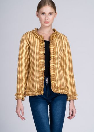 Yellow color Jackets . Dayang Hip Jacket in Mustard/Butter Ifugao Weave -