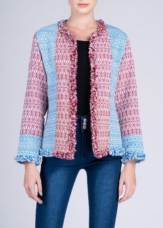 Multi color Jackets . Dayang Hip Jacket in Mixed Cam Sur Advance Weave -