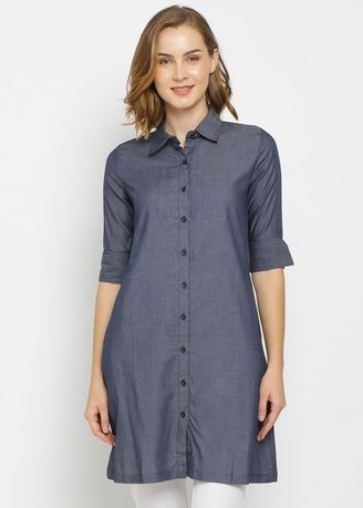 Navy color Tops and Tunics . PURICIA DRESS AILANI -