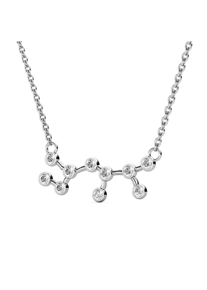 Silver color  . Sagittarius Pendant (White Gold) - Embellished with Crystals from Swarovski® -