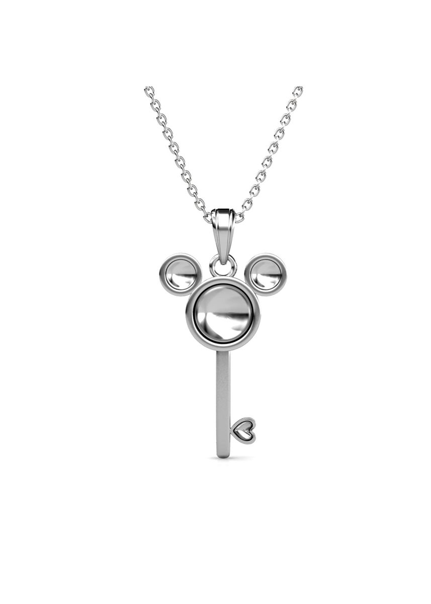 Silver color  . Mice Key Pendant‏ (White Gold)- Embellished with Crystals from Swarovski® -