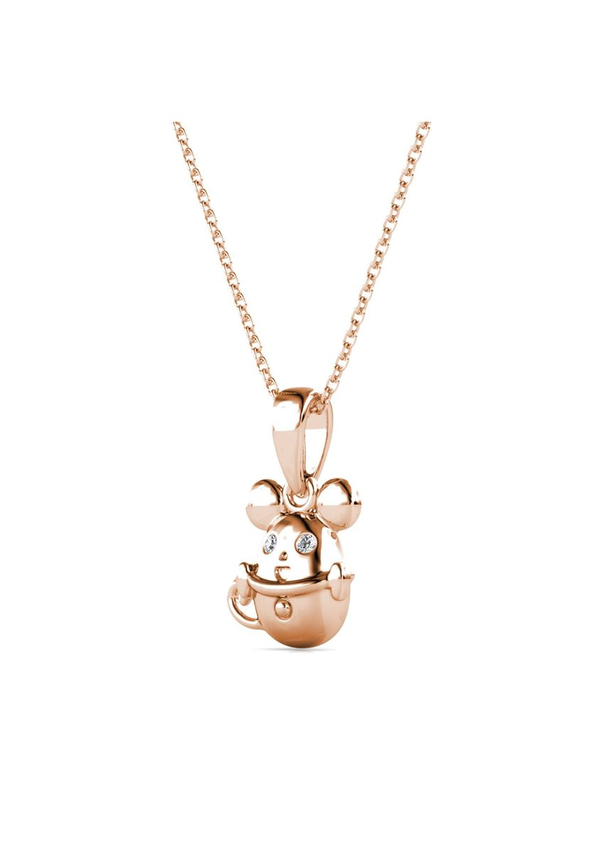 Pink color  . Mice In The Cup Pendant (Rose Gold)- Embellished with Crystals from Swarovski® -