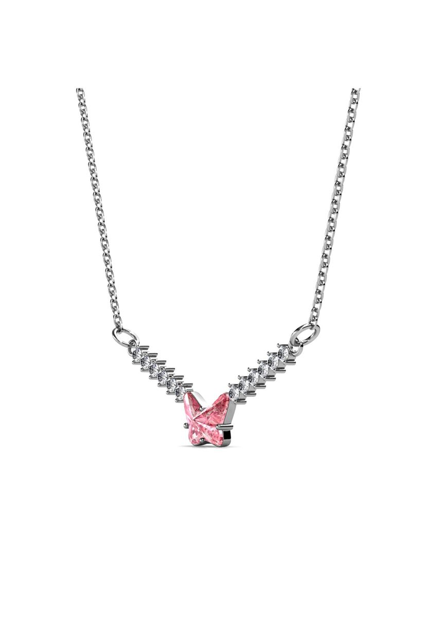 Silver color  . Ven Butterfly Pendant (White Gold) - Embellished with Crystals from Swarovski® -
